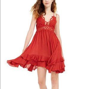 NWT Free People Adella Dark Red Mini Slip Dress